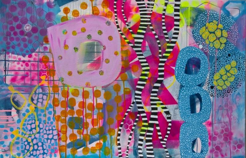 Abstrakt maleri med farverne pink, lyserød, lilla, violet og blå