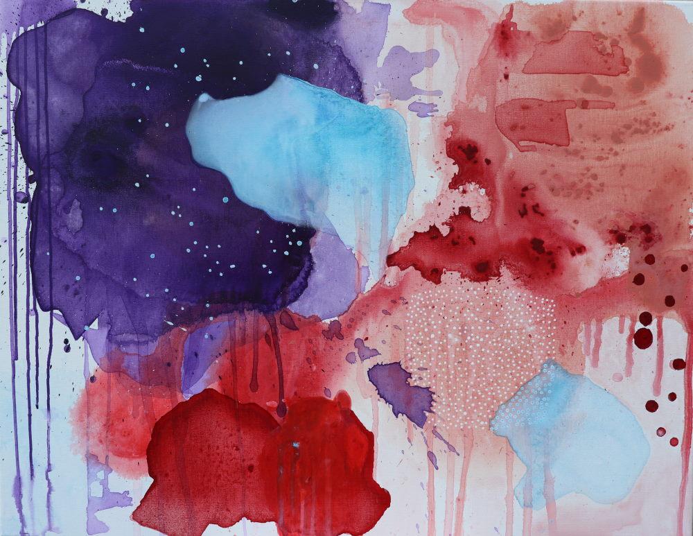 Maleri i lilla lyseblå og rød